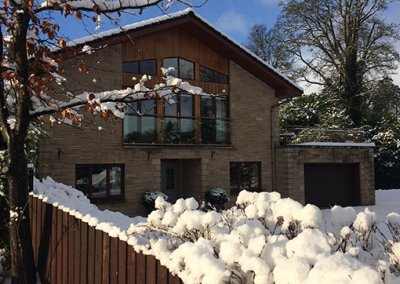 Burnside House in Winter snow